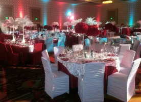 decor, lighting, table settings, entertainment, chair covers, live music